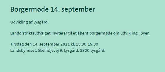 Borgermøde om Lysgård´s udvikling ODATERING 15.9.2021 og 16.9.2021